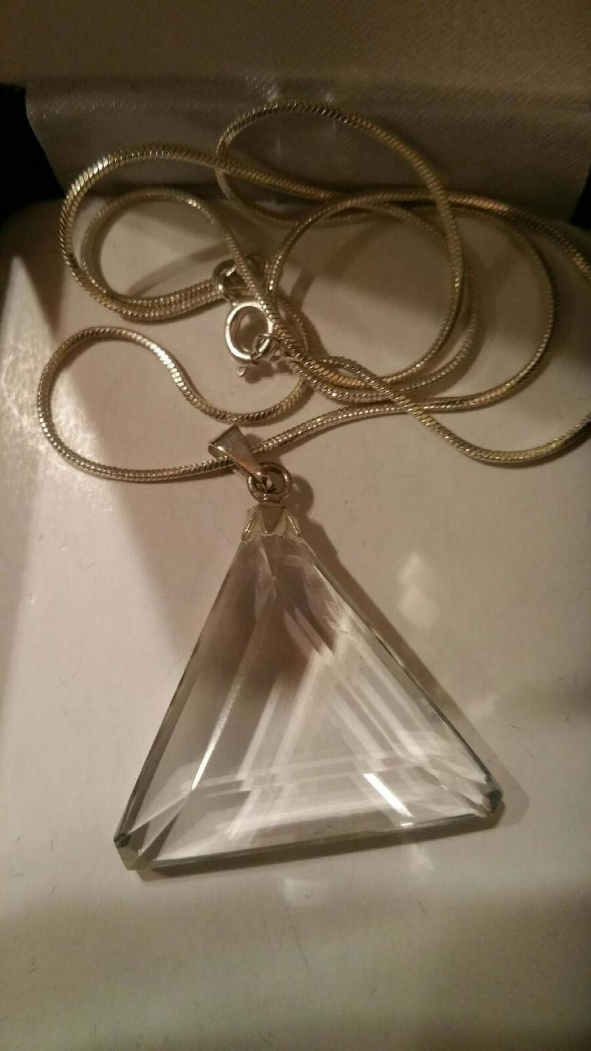 Blessed Waterfall Quartz  Casa Triangle Pendant On Chain
