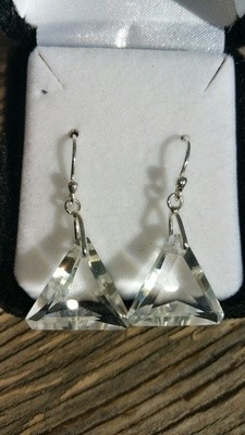*NEW* John Of God Clear Quartz Casa Triangle Dangle Earrings