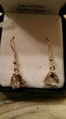 Smokey Quartz Pyramid Dangle Earrings