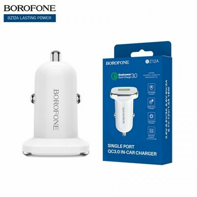 Автомобильный адаптер на USB белый, Borofone BZ12A, 3A, QC3.0