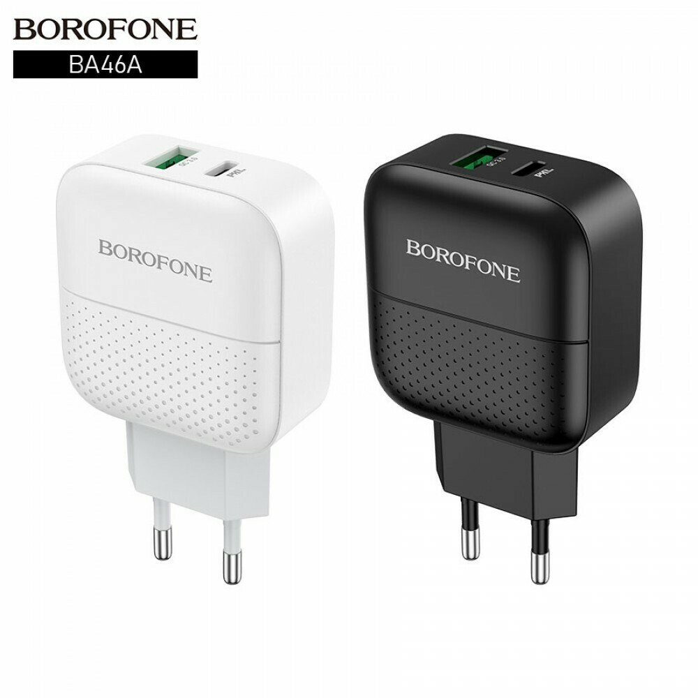 Сетевой адаптер USB Borofone BA46A PD+QC3.0, 3 А
