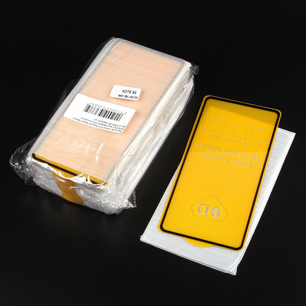 Защитное стекло Full Glue для Xiaomi Redmi Note 9S в тех.упаковке (25 шт в компл)