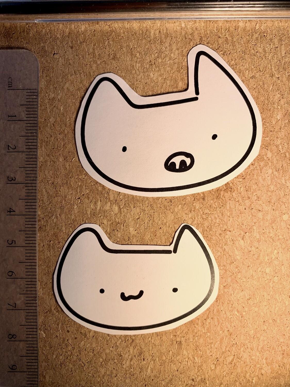 White Cat Paper Sticker