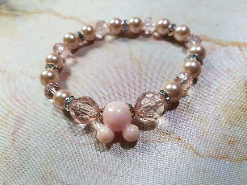 Peach Mickey Head Beaded Bracelet