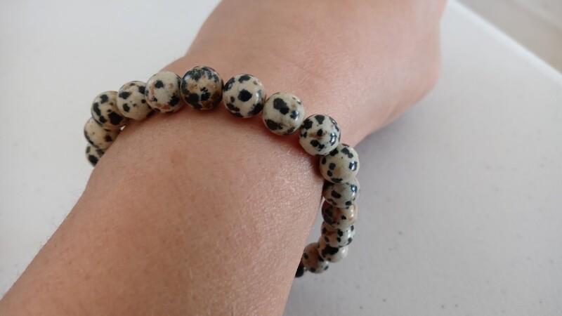 Dalmatian Jasper Gemstone Stretch Beaded Bracelet