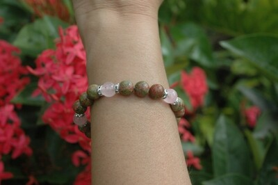 Natural Unakite  Stretch Bracelet