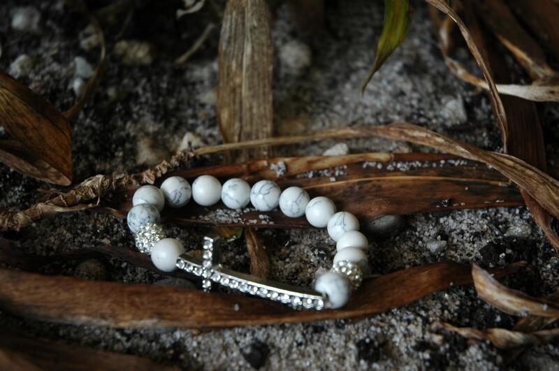 Cross White Turquoise Bracelet