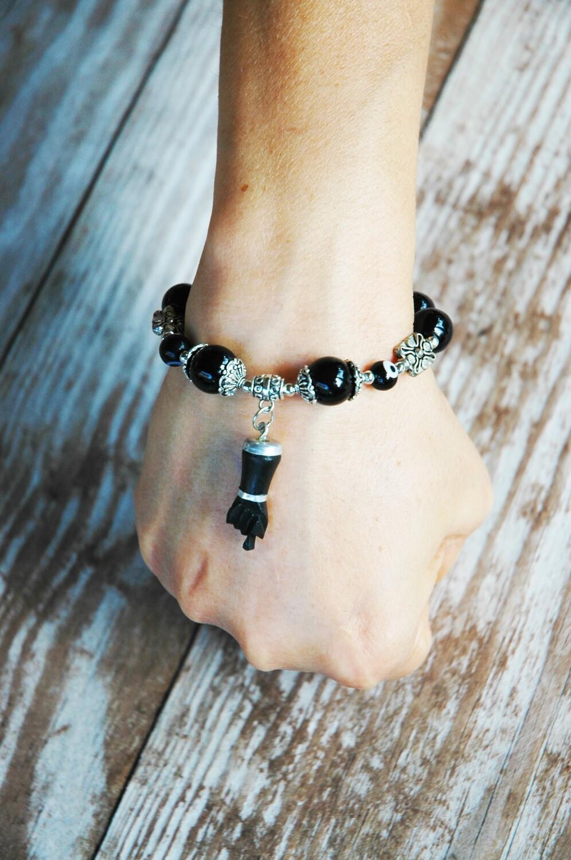 Hand Charms Figa Bracelet black