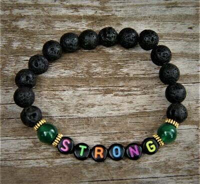 STRONG  handcrafted elastic letter bracelet