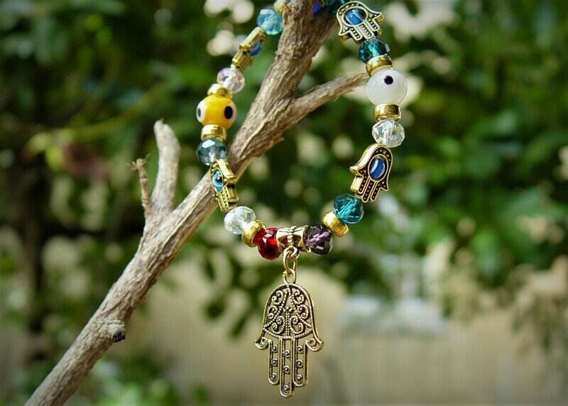 Hamsa Hand Crystals Colorful  Bracelet