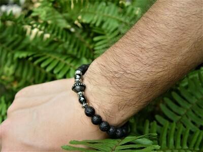 Natural Lava Rock and hematite Men's Bracelet
