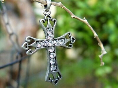 Old silver cross pendant