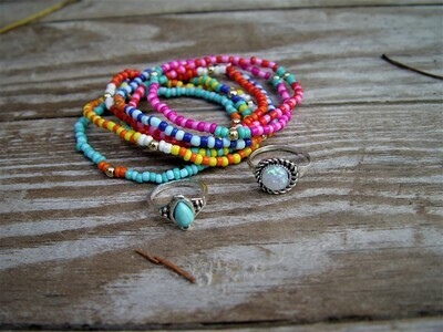 Colorful Beaded Bracelet and Rings