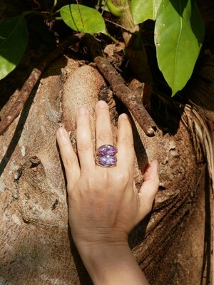 Silver ring with amethyst stones