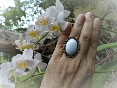 White Oval Design Ring