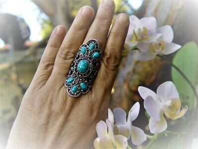 Turquoise Rhinestone Ring