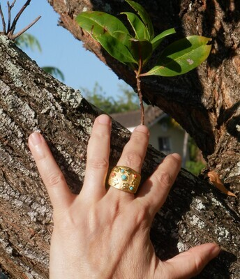 Paty Ring 18K Yellow Gold Plated Turquoise and coral stones
