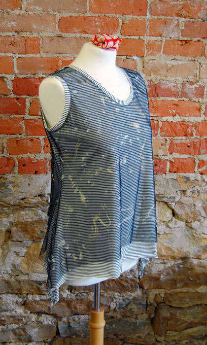 Ann's Tank made in a stripe knit with a mesh overlay.