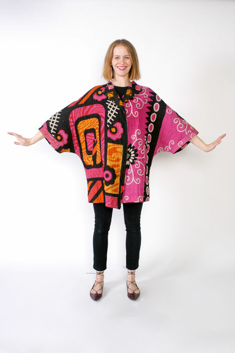 Chateau coat pattern made in pink kantha cloth fabric