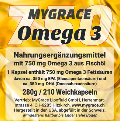 MYGRACE Omega 3-750 mit 210 Kapseln