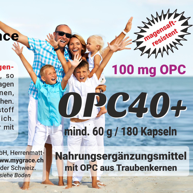 MYGRACE OPC40+ Traubenkernextrakt mit geprüftem OPC Gehalt 180 Kapseln mit je 100 mg Oligomere pro Kapsel