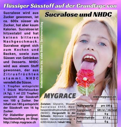 MYGRACE flüssiger Süssstoff mit Sucralose + NHDC 150 ml
