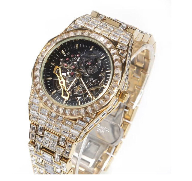 ICED OUT BAGUETTE SKELETON WATCH