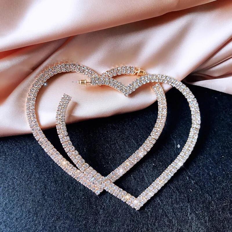 Heart Crystal Hoop Earrings