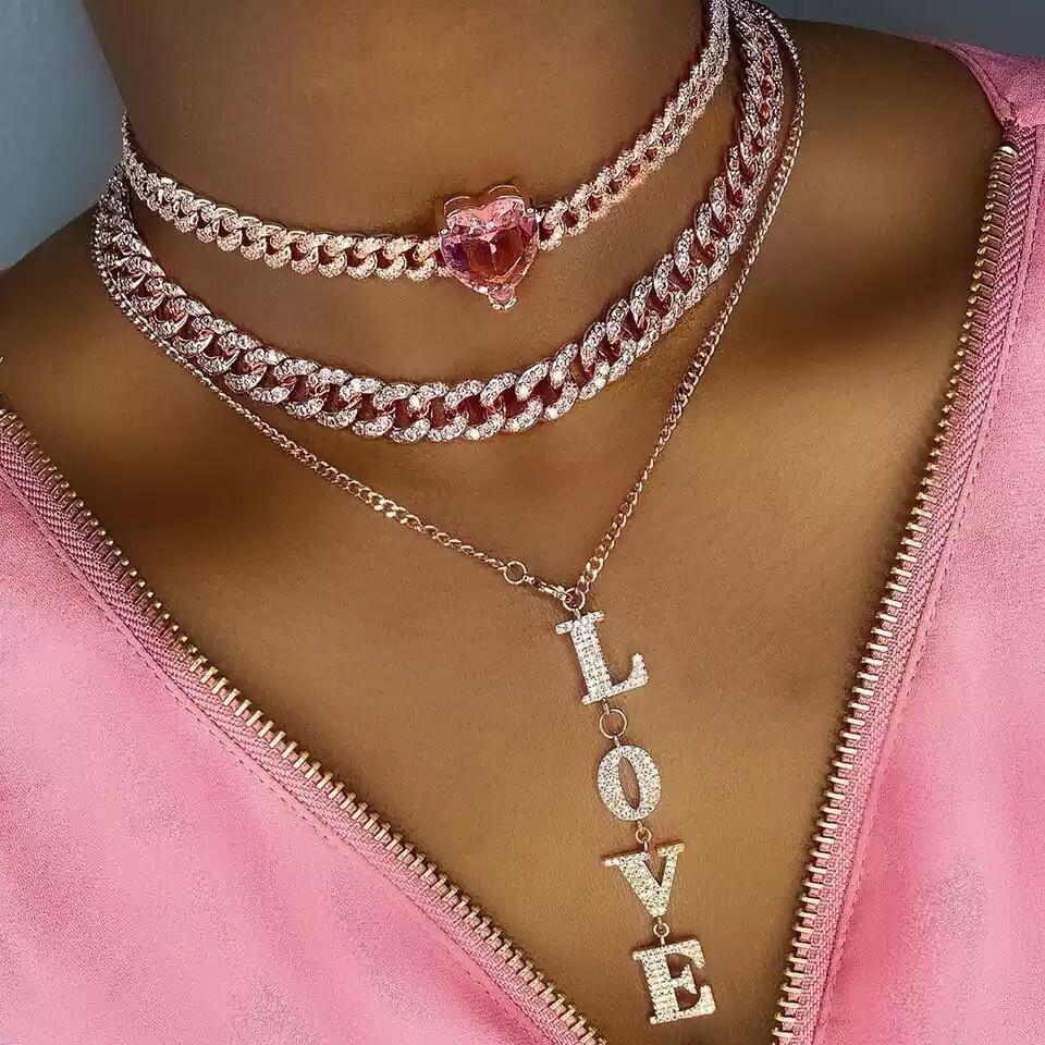 Rose Gold Heart Choker