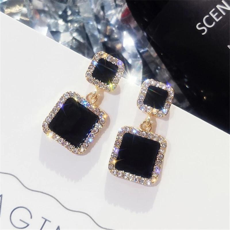 Black Square Crystal Earrings