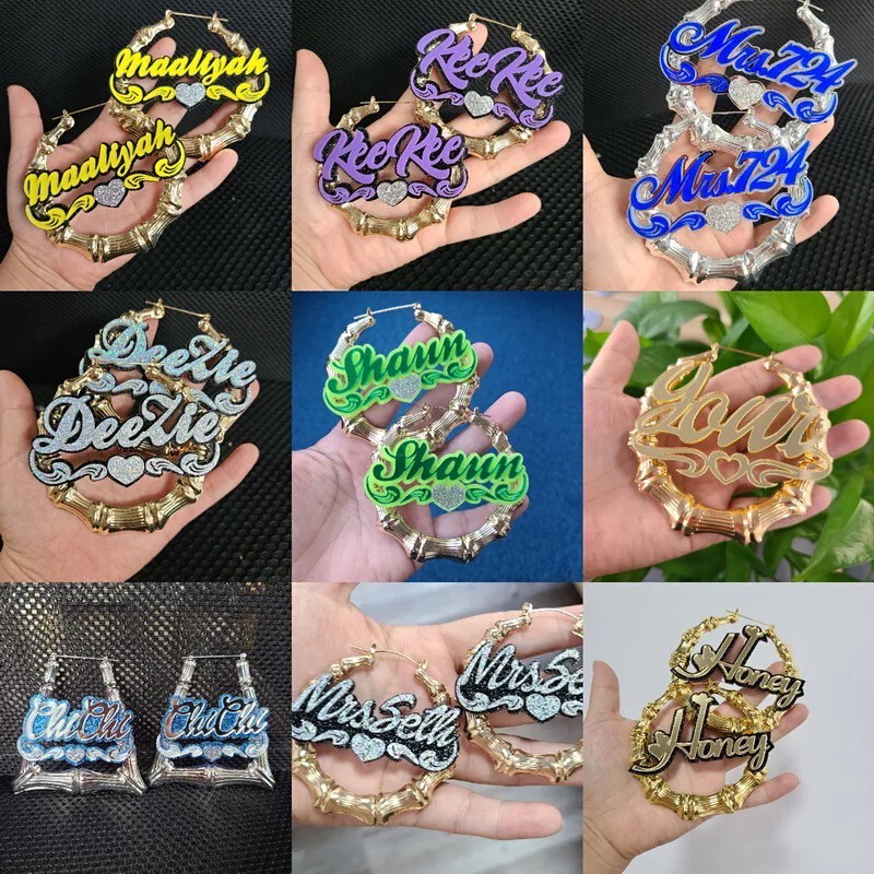 Personalized Colorful Name Earrings