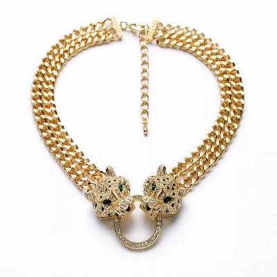 Twin Leopard Head Necklace