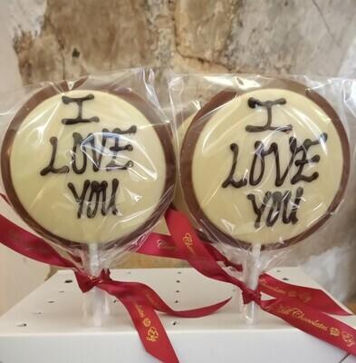 I Love You Milk Chocolate Lollipop