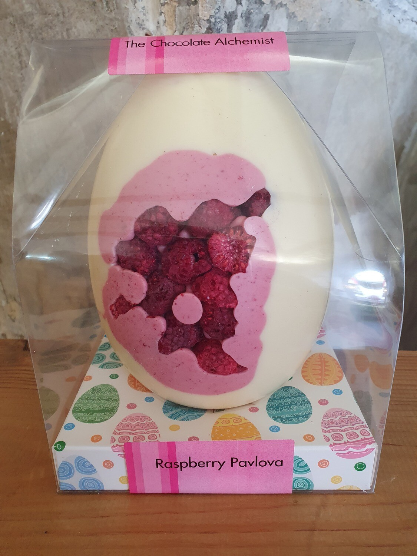 Inclusion Egg Raspberry Pavlova in White Chocolate
