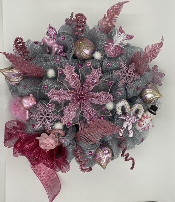 Christmas Wreath Silver and Pink