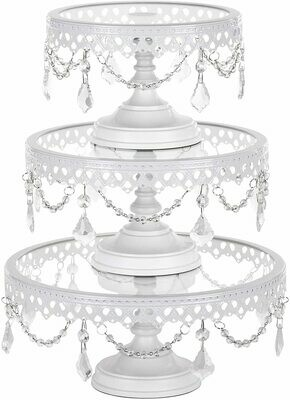 Amalfi Decor Cake Stand with Glass Tops, Round Metal Pedestal Holder with Crystals, White, Set of 3