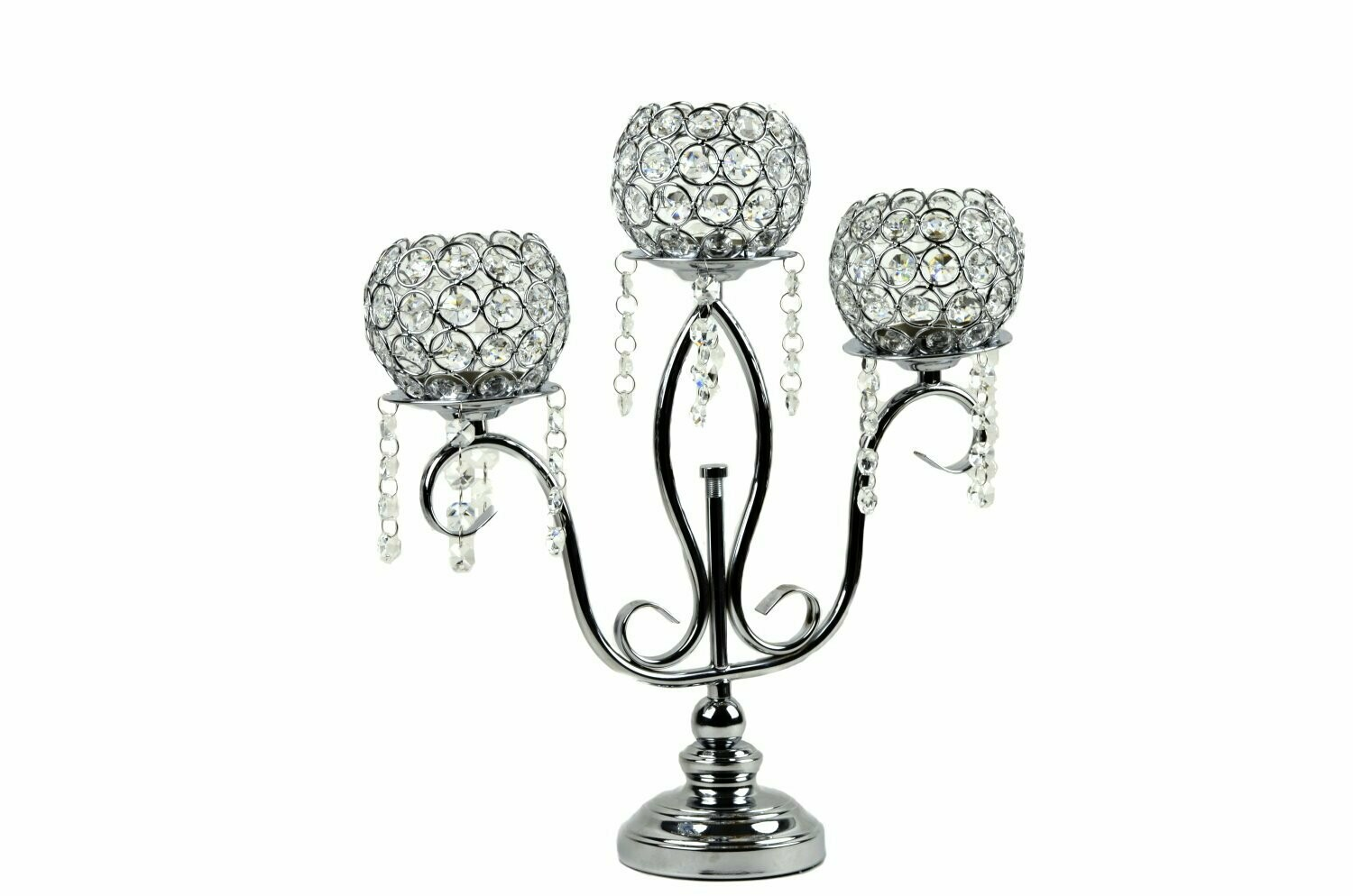 Candle Holder Stand 3 Arm Candelabra Table Centerpieces - Silver