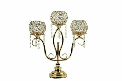 Candle Holder Stand 3 Arm Candelabra Table Centerpieces - Gold