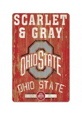 Ohio State Buckeyes Scarlet & Grey Wood Sign