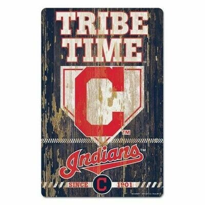 Cleveland Indians Tribe Time Wood Sign