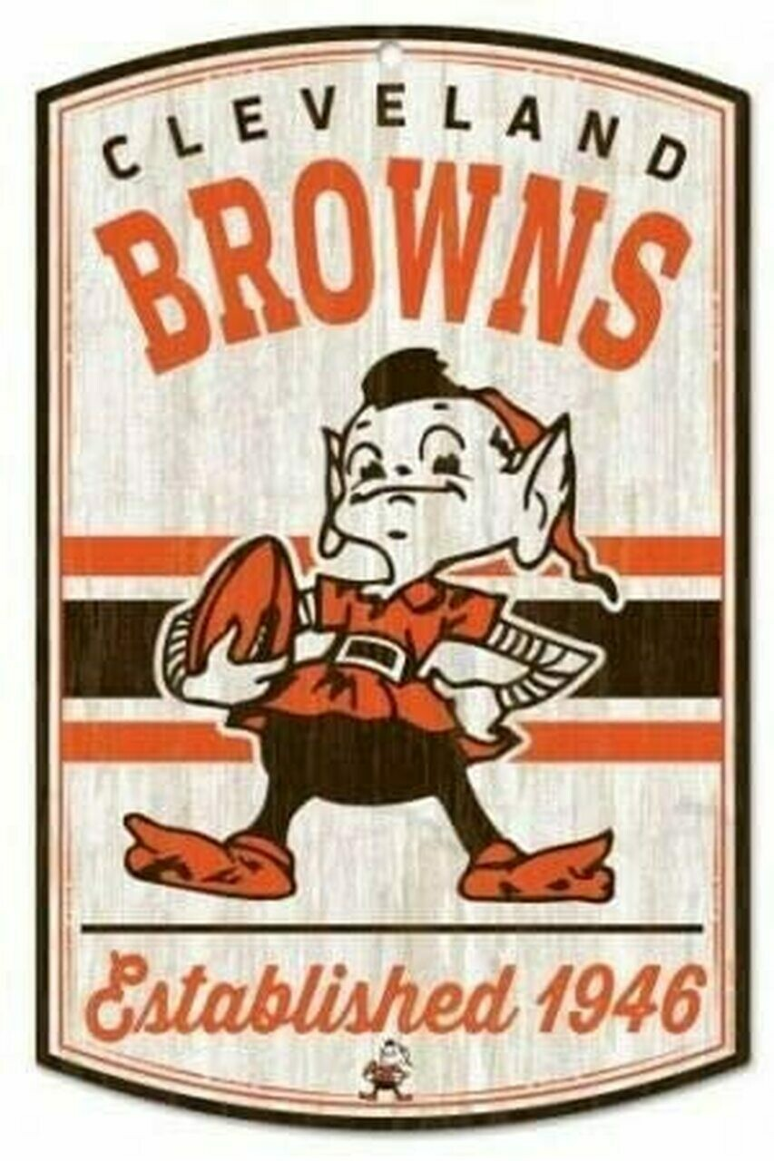 Cleveland Browns Classic Logo Wood Sign