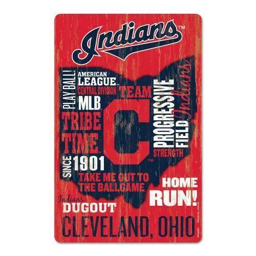 Cleveland Indians Wordage Wood Sign
