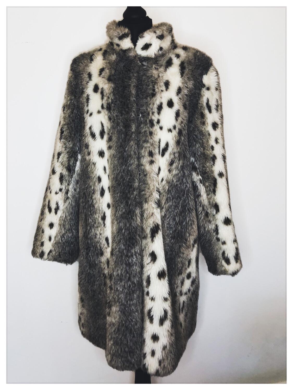 Faux Fur Leopard Print Coat Approx Size 12