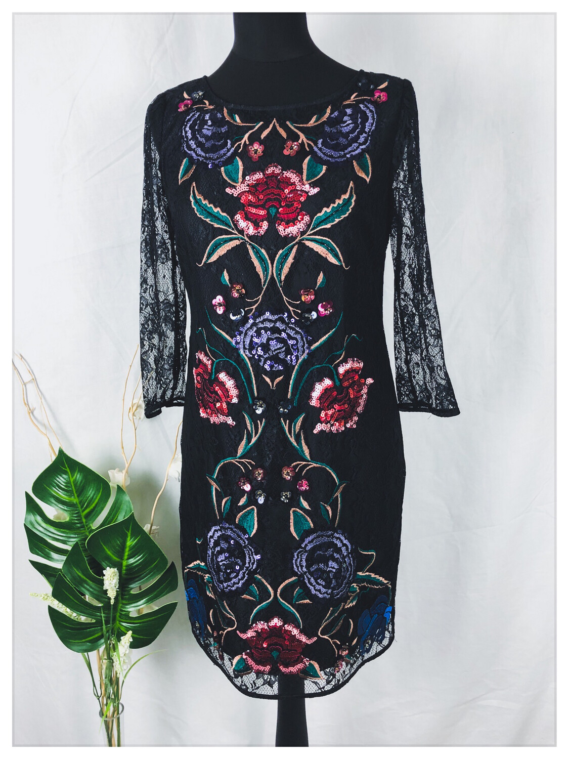 Monsoon Lace Embroidered Dress Size 10