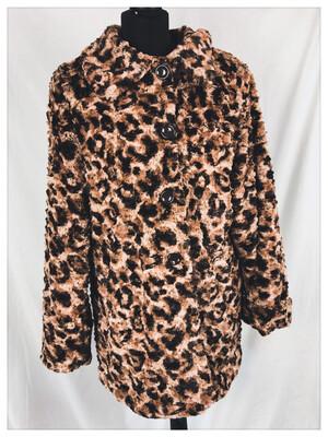 Vintage Leopard Print Faux Fur Coat