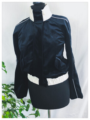 Vintage Armani Velvet Buttoned Bomber Jumper