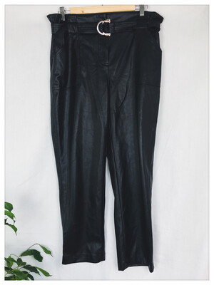 Savida Faux Leather Paperbag Trousers Size 14