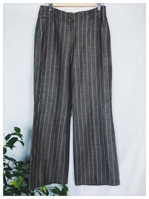 Pinstripe Wool Blend Wide Legged Trousers