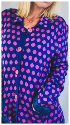 Pink & Blue Wool Cardigan