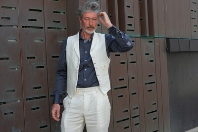 'Padova' Soft Cream Linen Waistcoat